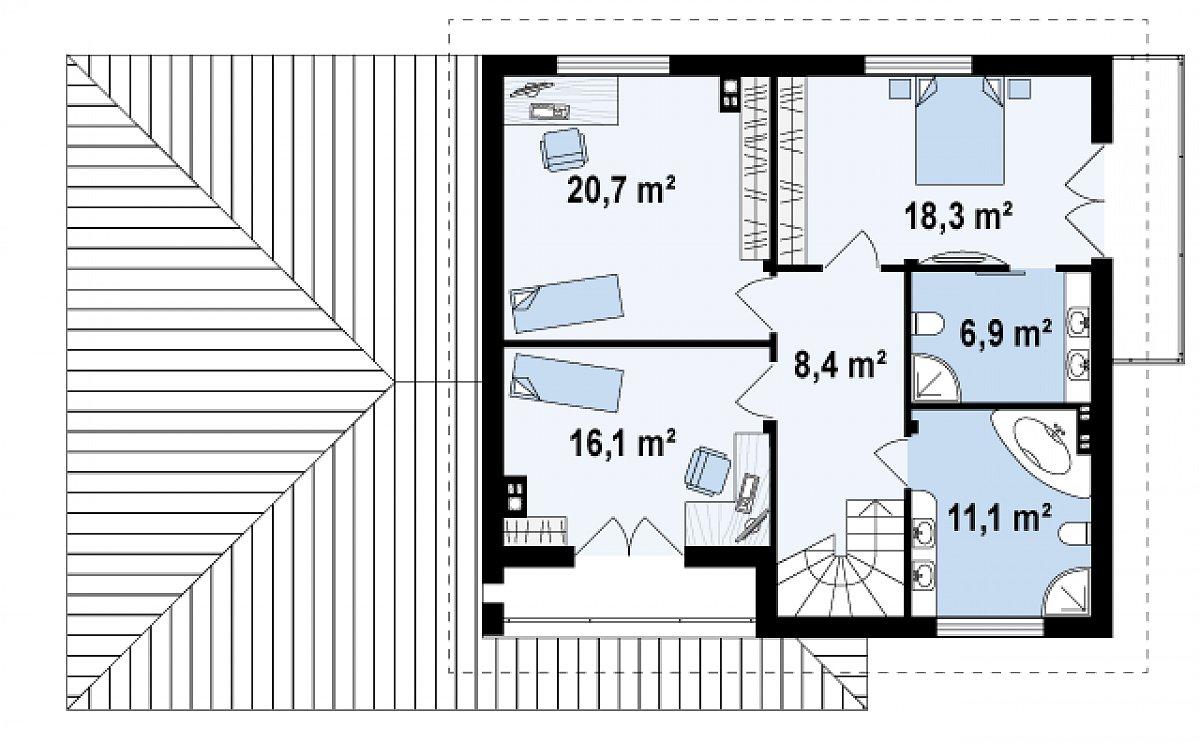 Второй этаж 81,6м² дома Zx12 GL2