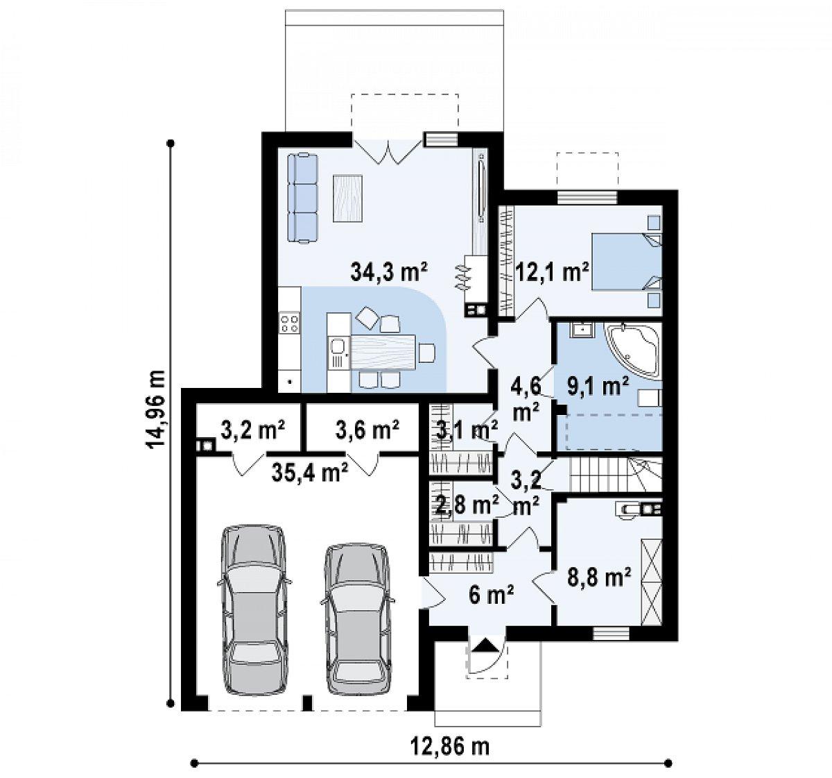 Первый этаж 90,8(126,1м²) дома Zx120