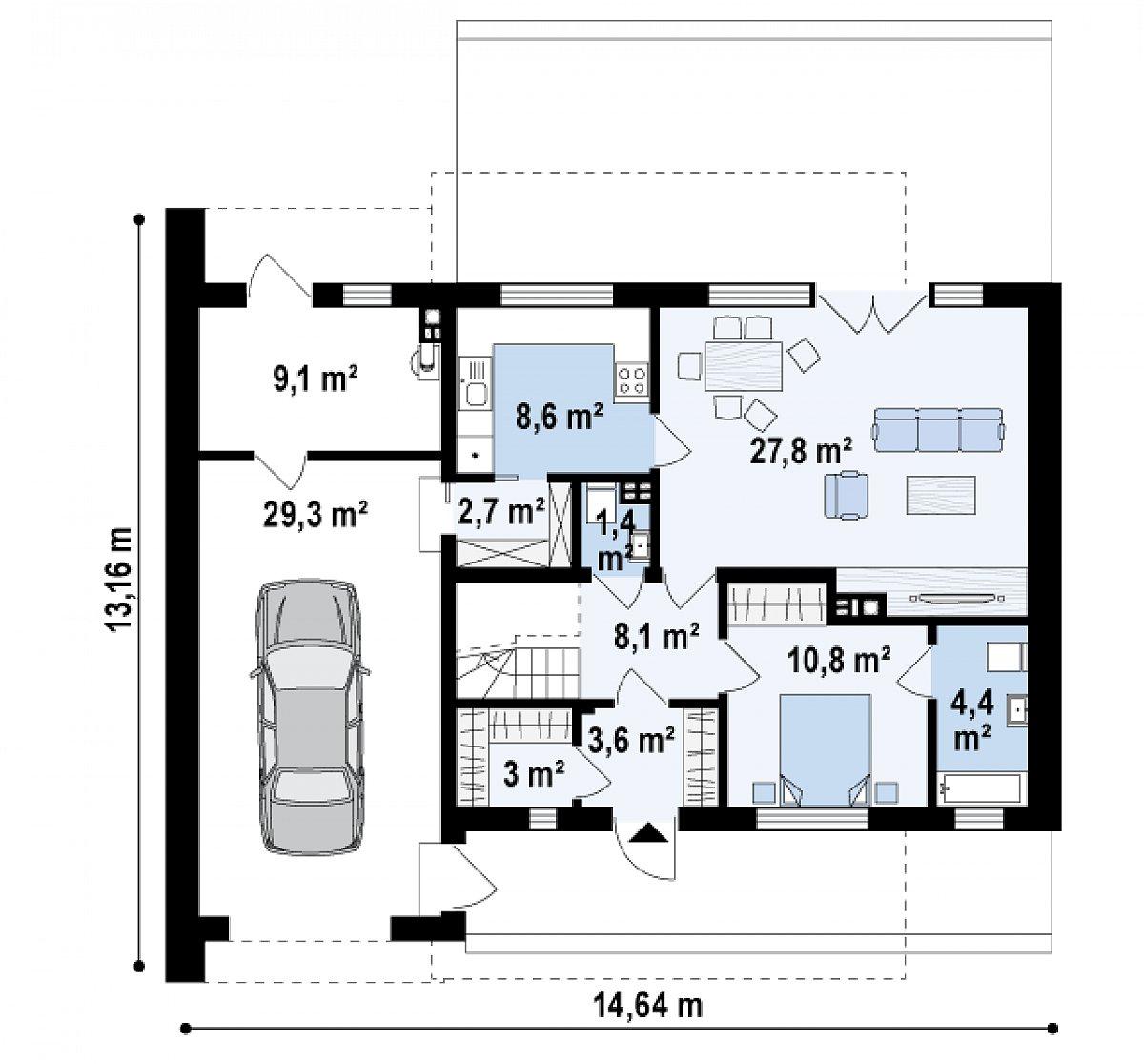 Первый этаж 70,4(108,8м²) дома Zx121