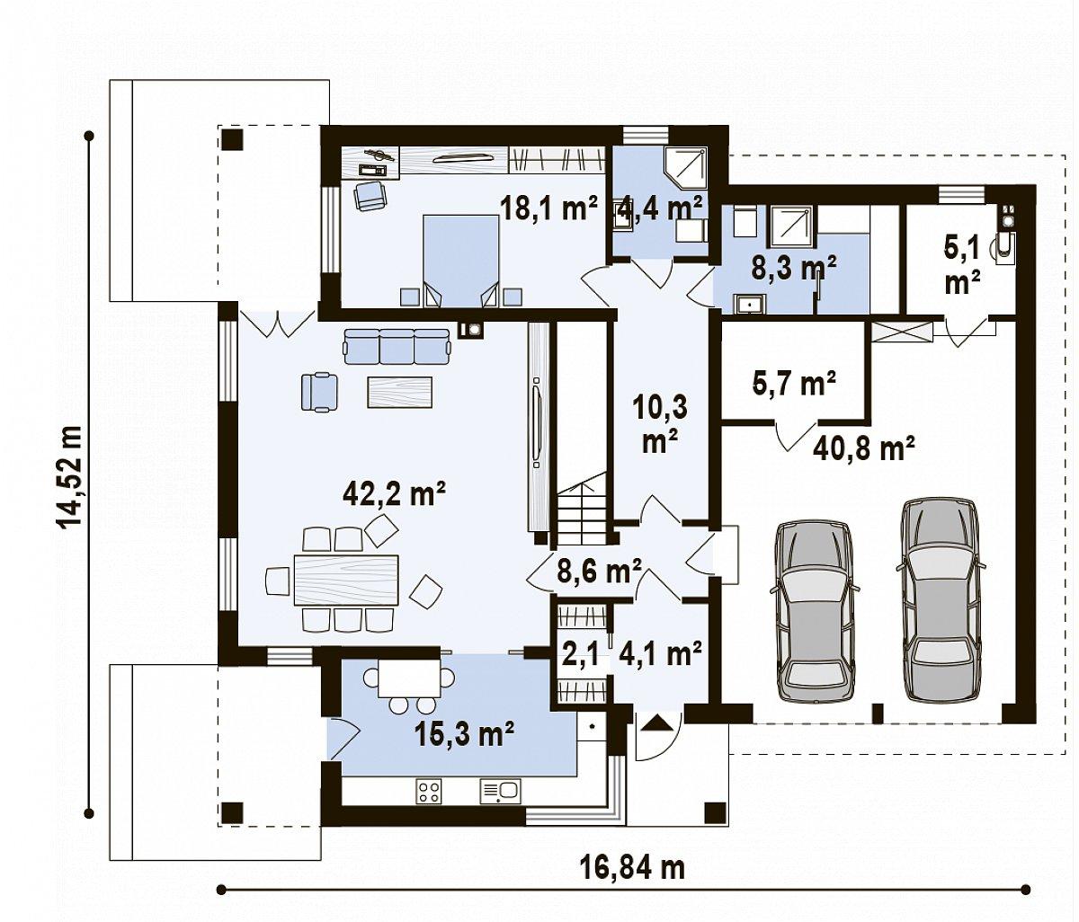 Первый этаж 124,1(164,9м²) дома Zx122