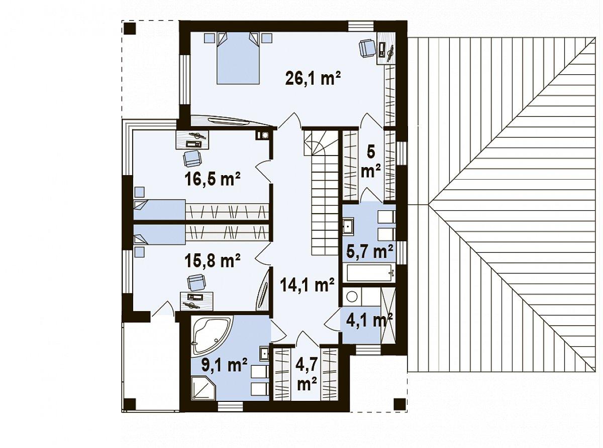 Второй этаж 101,2м² дома Zx122