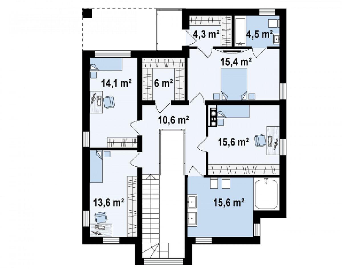 Второй этаж 99,7(99,6м²) дома Zx124