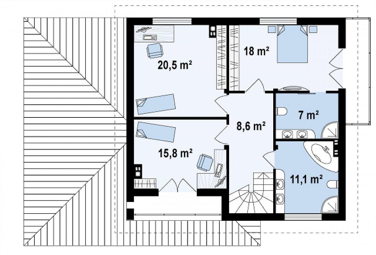 Второй этаж 80,9м² дома Zx12