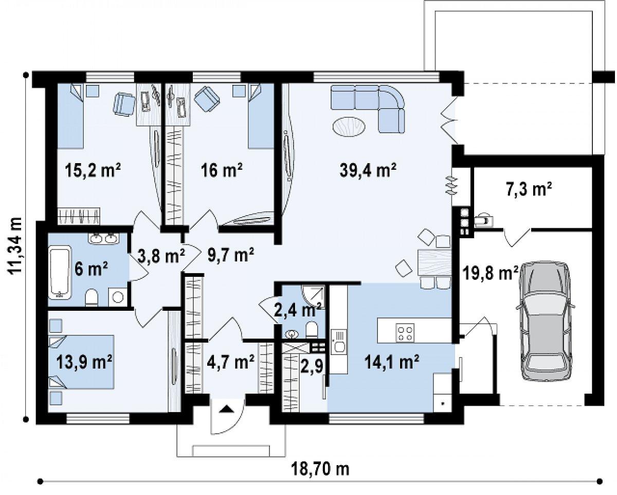 Первый этаж 128,3(155,4м²) дома Zx13