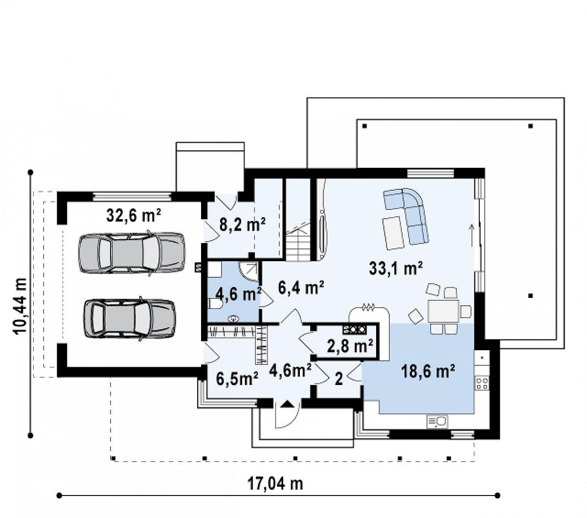 Первый этаж 87,0(119,6м²) дома Zx14