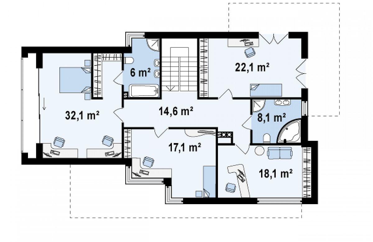 Второй этаж 118,6м² дома Zx14