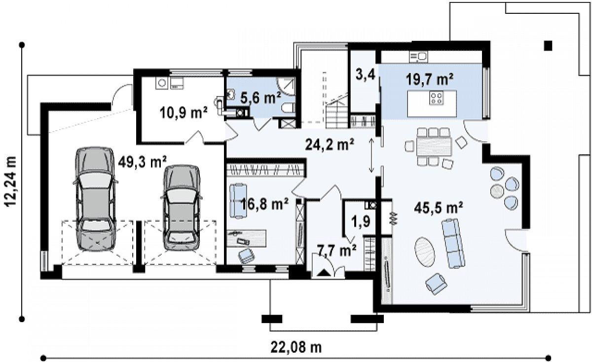 Первый этаж 124,6(184,9м²) дома Zx15 GL2