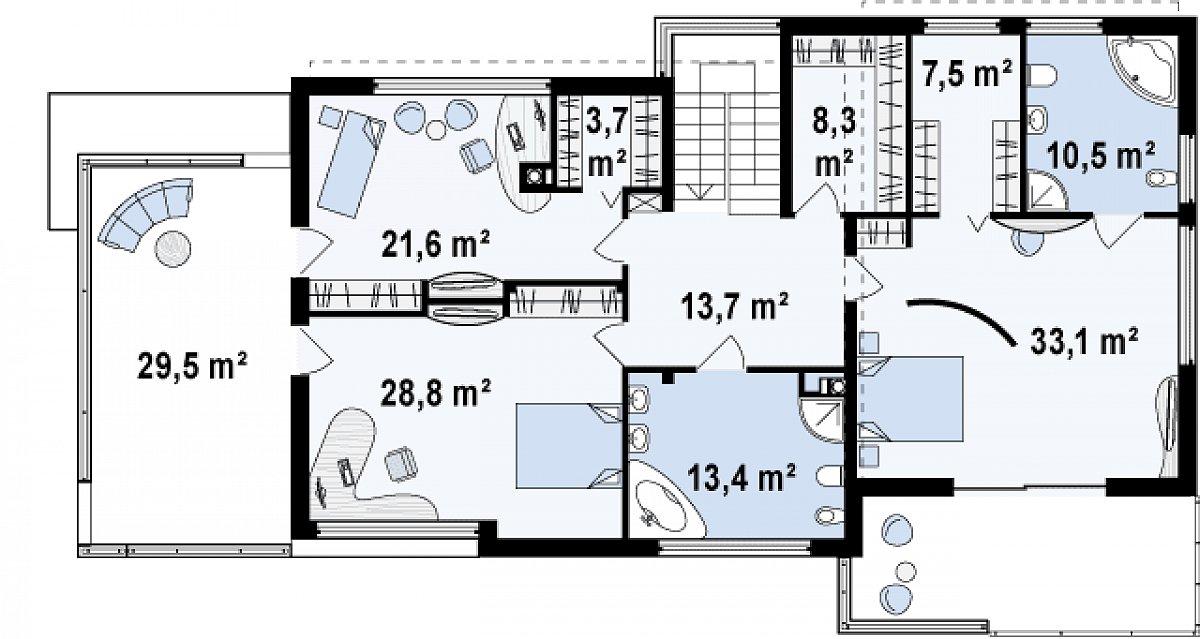 Второй этаж 140,5м² дома Zx15 GL2