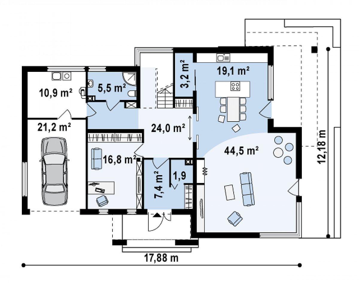 Первый этаж 122,4(154,6м²) дома Zx15