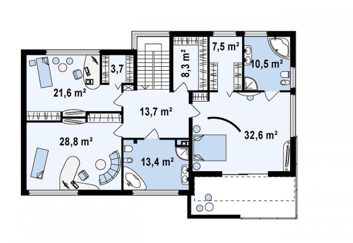 Второй этаж 140,1м² дома Zx15