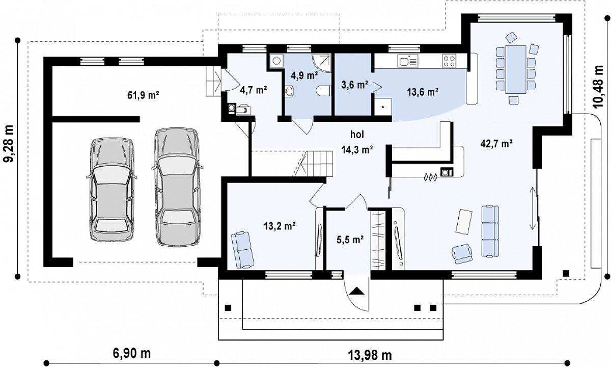 Первый этаж 102,6(154,4м²) дома Zx16