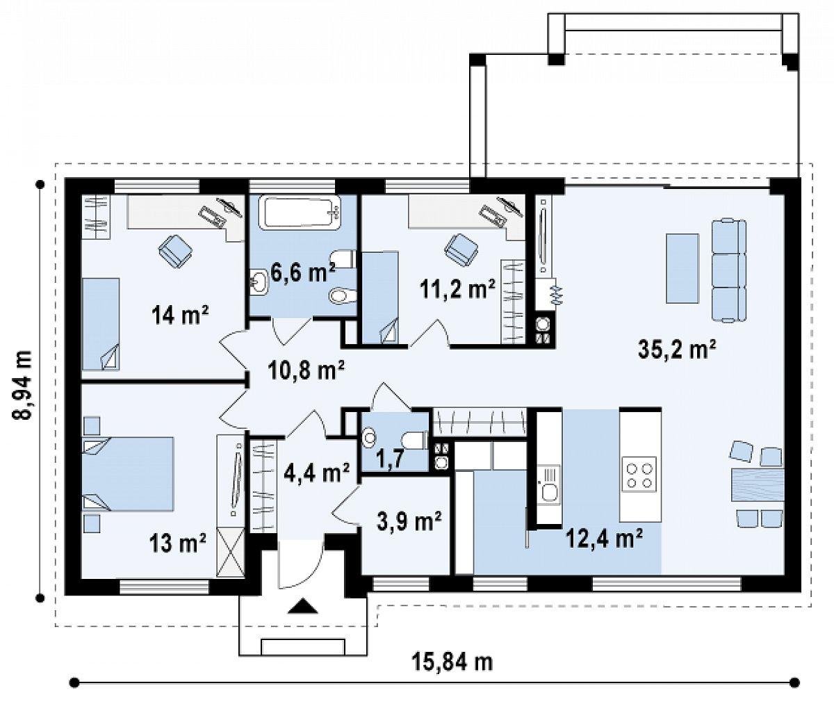 Первый этаж 113,2м² дома Zx17