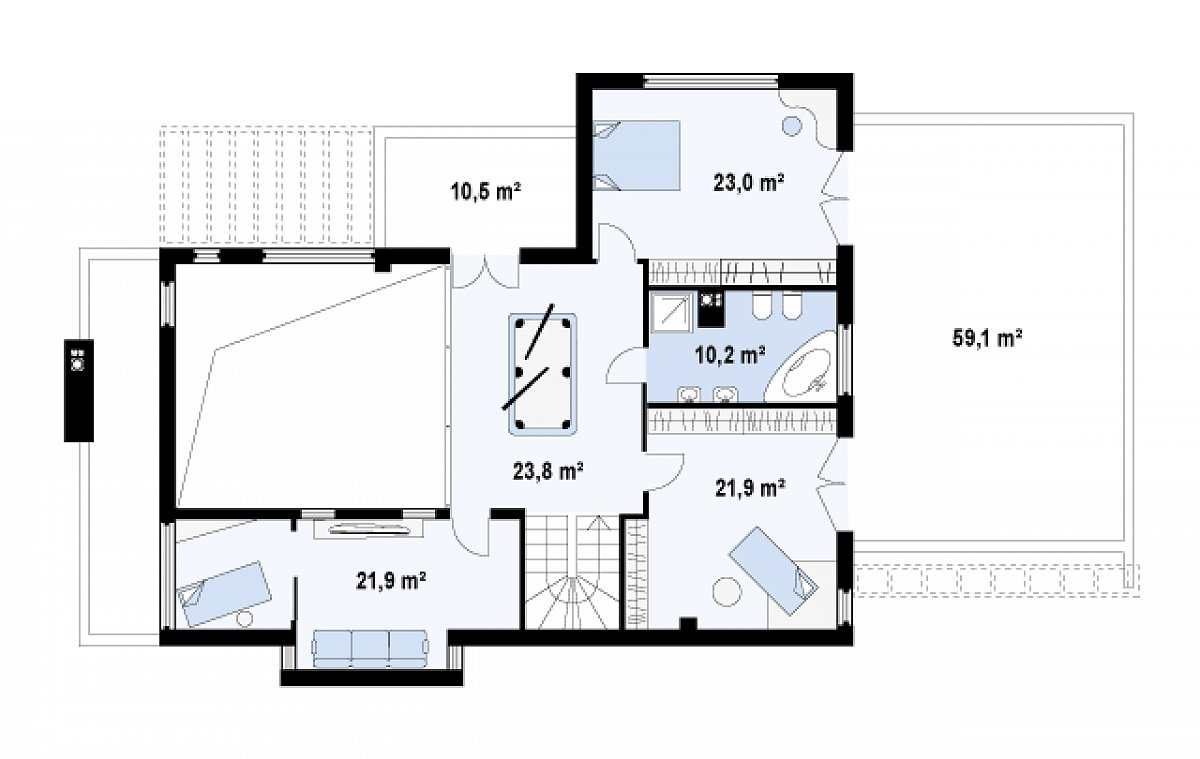 Второй этаж 100,8м² дома Zx1