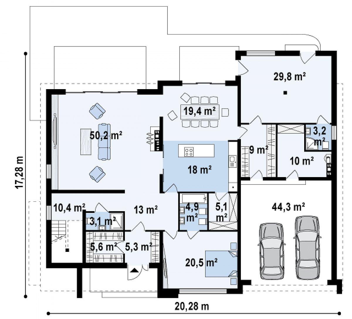 Первый этаж 207,5(251,7м²) дома Zx20