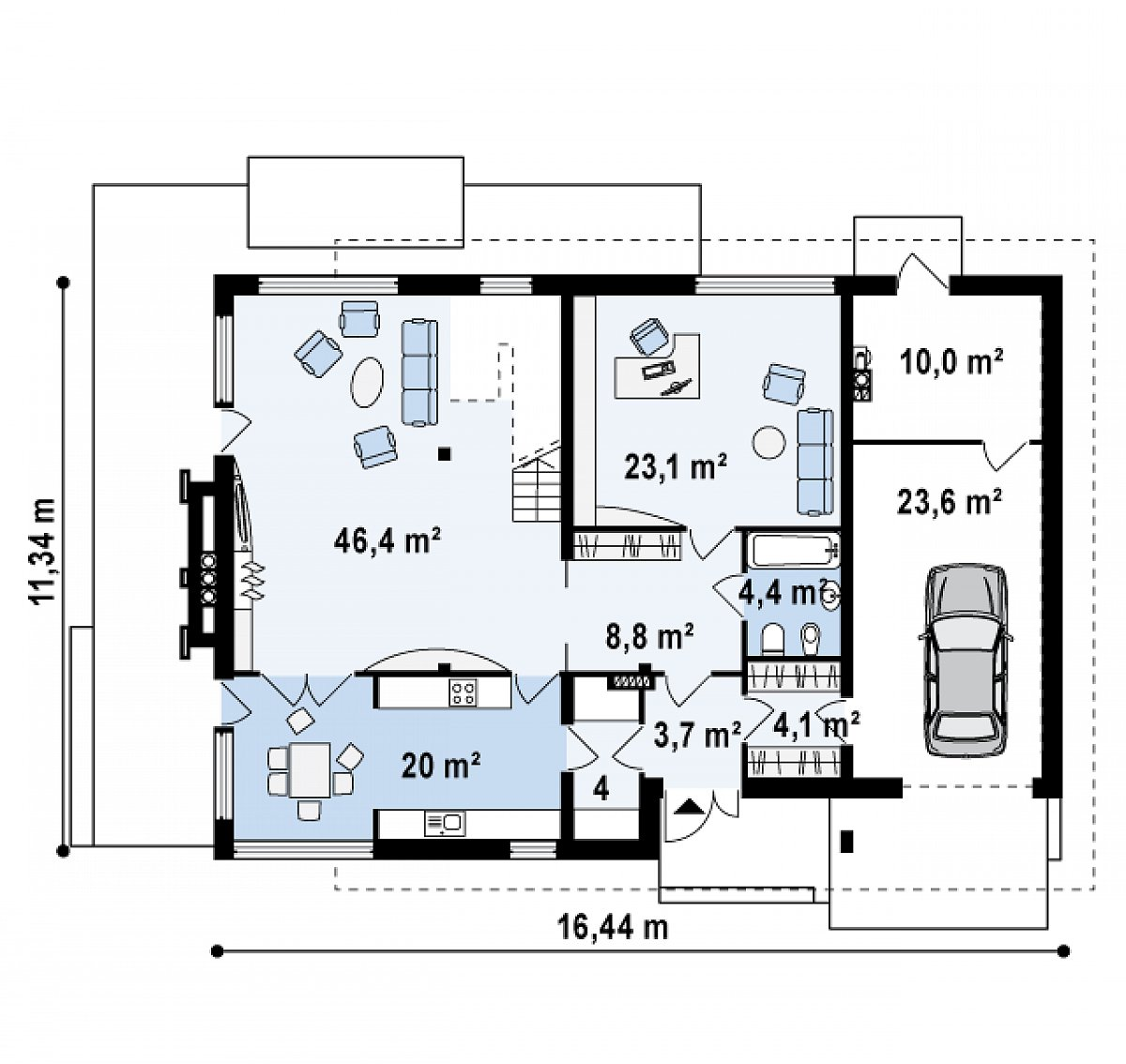 Первый этаж 114,5(148,2м²) дома Zx21