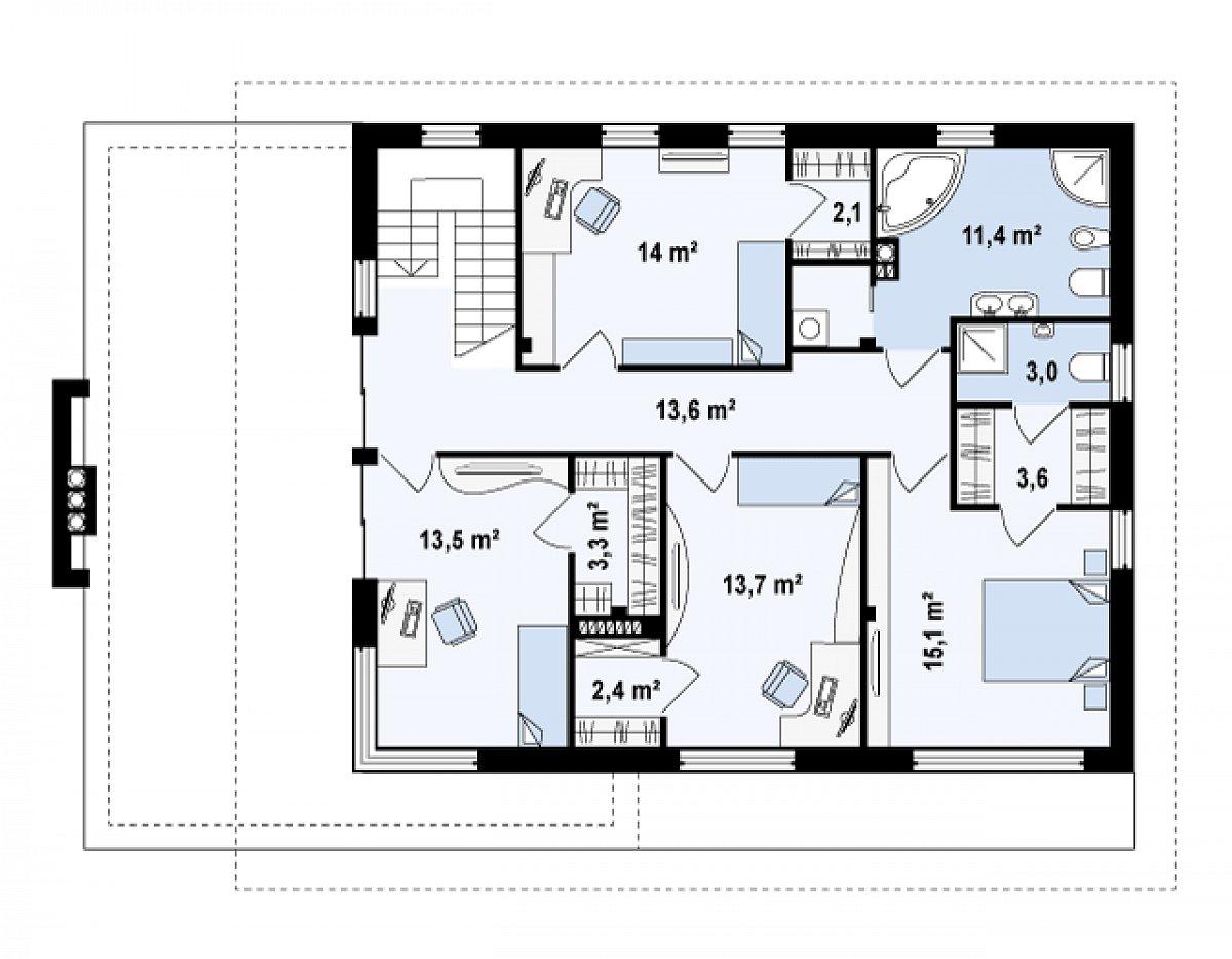Второй этаж 95,5м² дома Zx21