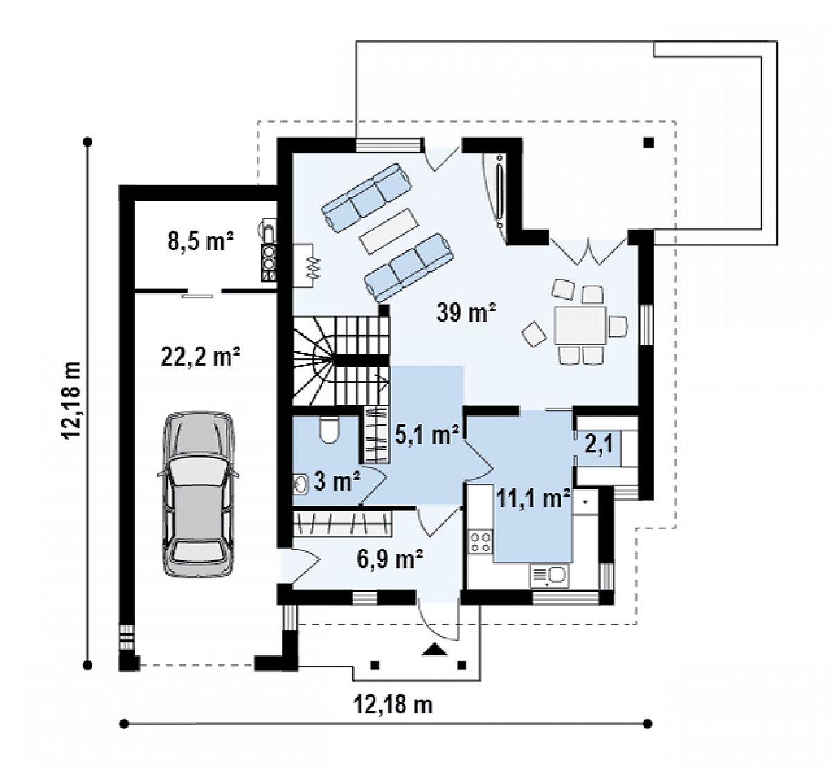 Первый этаж 67,3(98,0м²) дома Zx23