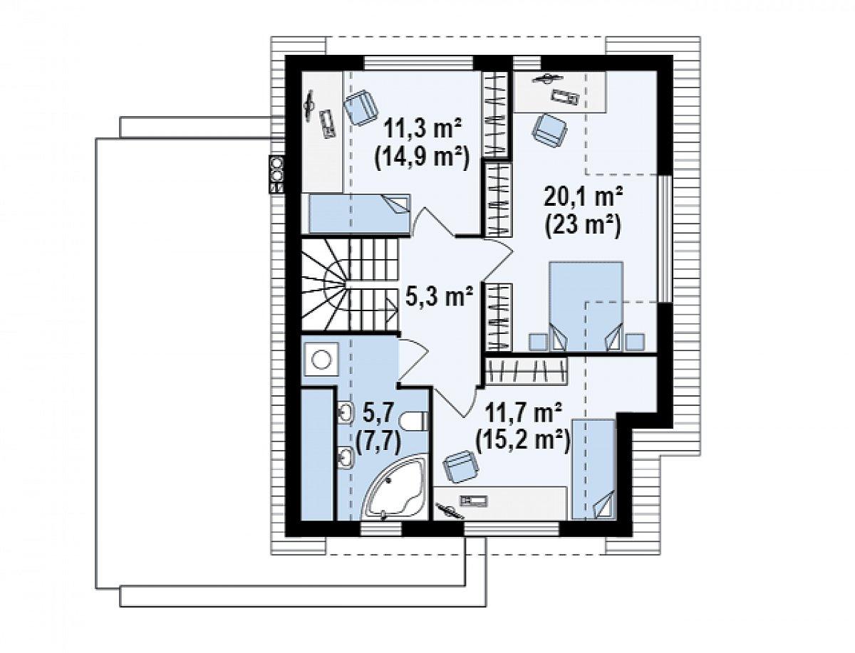 Второй этаж 54,2(66,1м²) дома Zx23