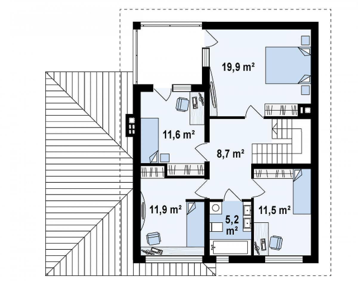 Второй этаж 68,8м² дома Zx24 dk