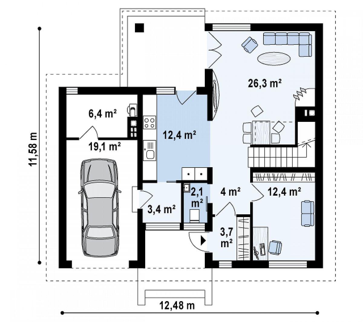 Первый этаж 68,2(93,8м²) дома Zx24