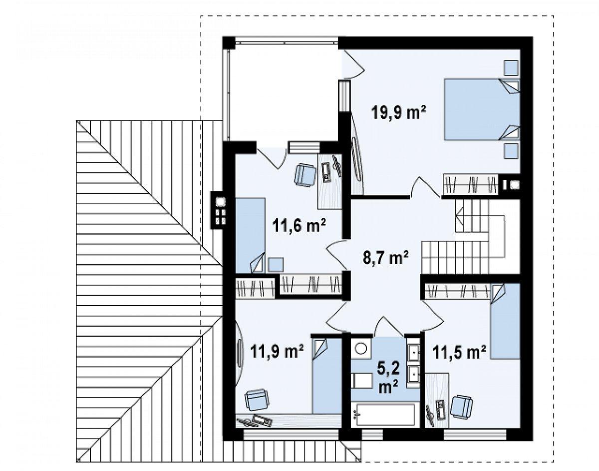 Второй этаж 68,8м² дома Zx24