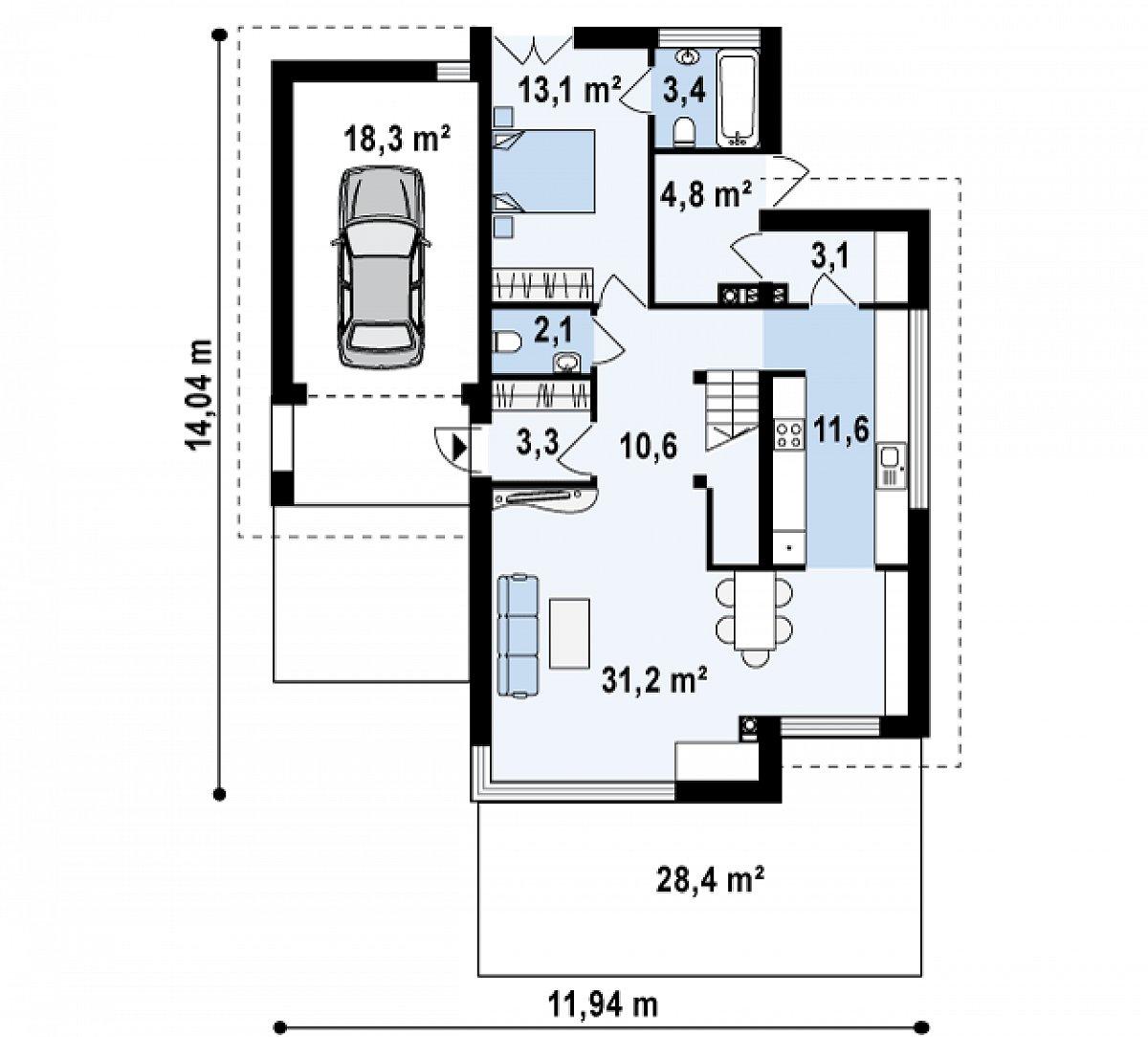 Первый этаж 83,1(101,4м²) дома Zx25
