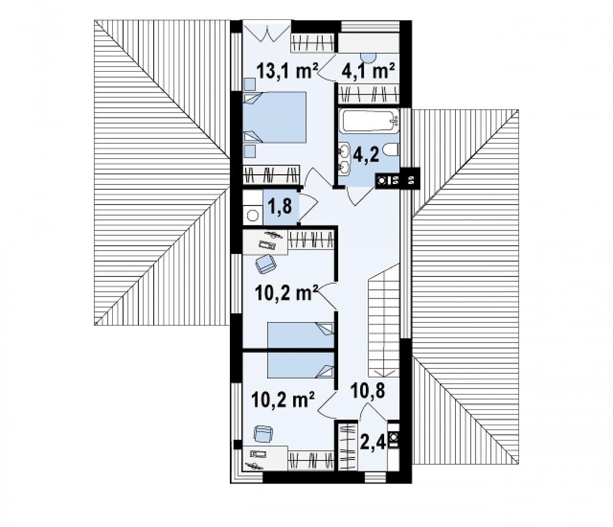 Второй этаж 56,4м² дома Zx25