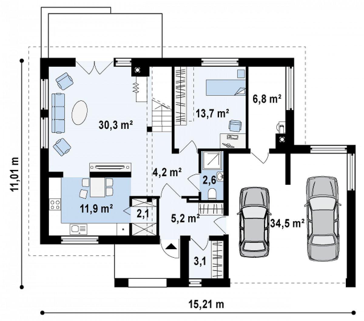 Первый этаж 73,1(114,5м²) дома Zx26