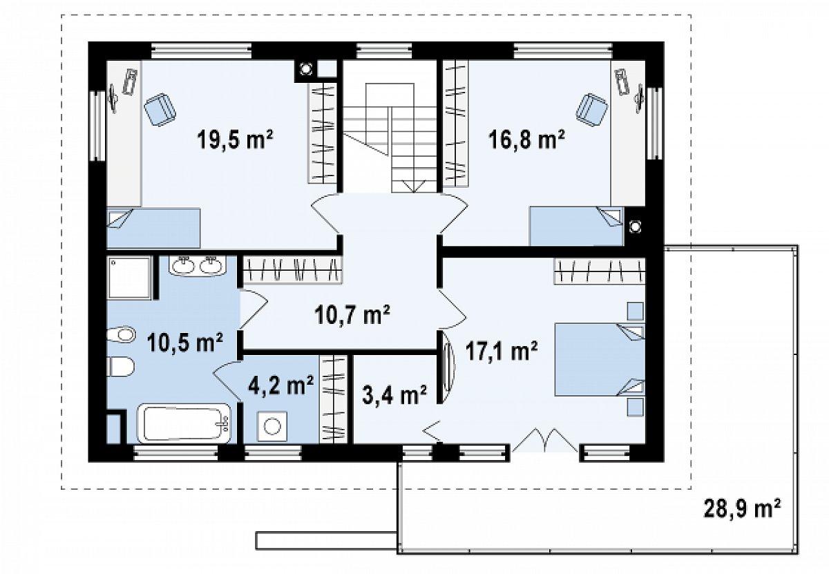 Второй этаж 82,2м² дома Zx26