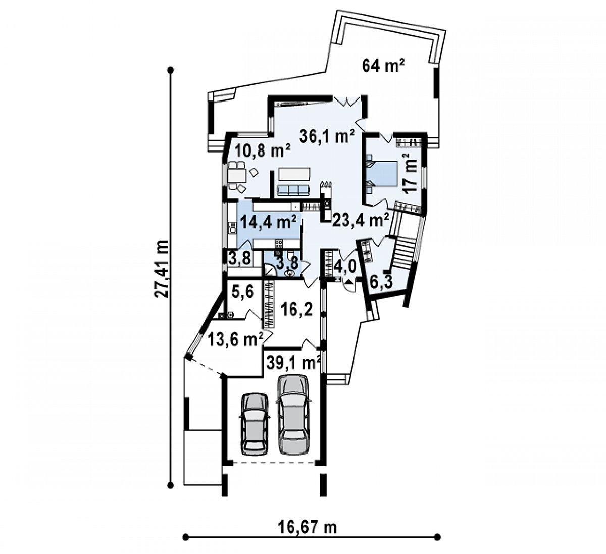Первый этаж 130,1(188,4м²) дома Zx27