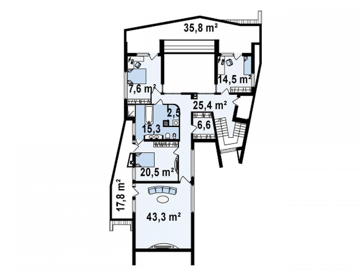 Второй этаж 156,6м² дома Zx27