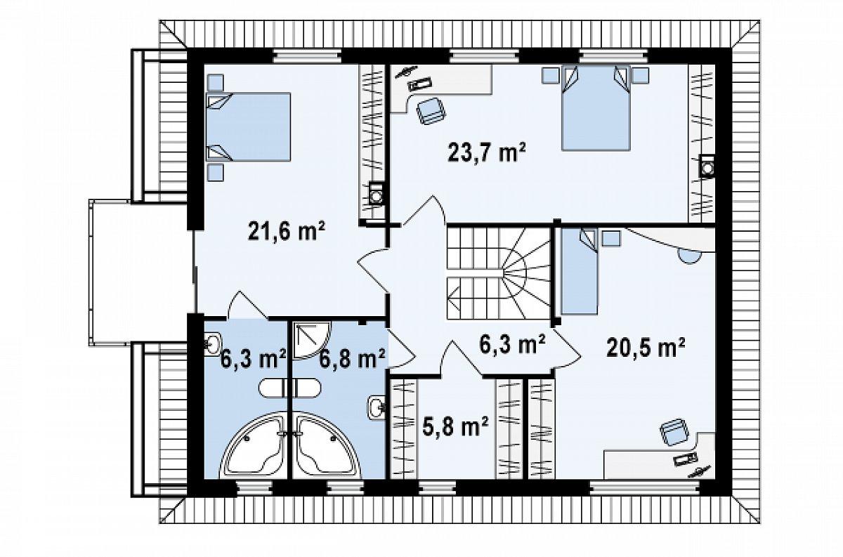 Второй этаж 97,8м² дома Zx29 k
