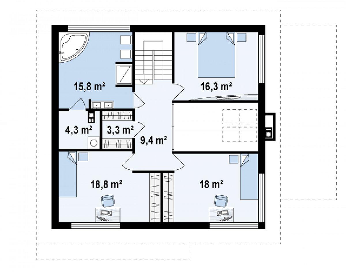 Второй этаж 85,9м² дома Zx2