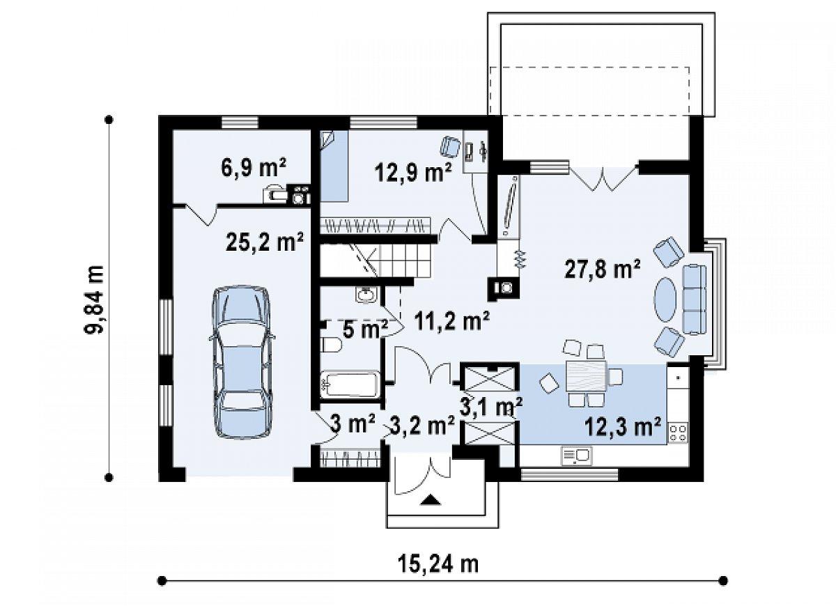 Первый этаж 72,8(104,9м²) дома Zx36 A