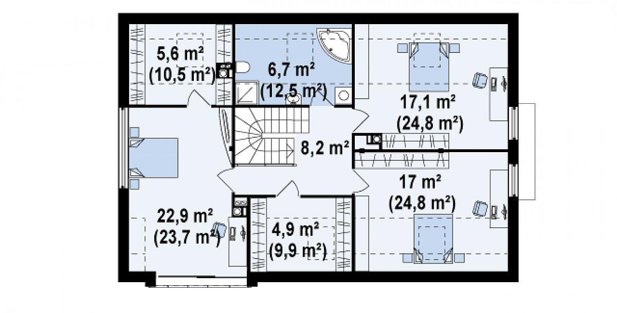 Второй этаж 82,4(114,4м²) дома Zx36 A
