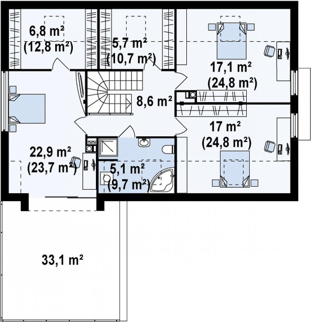 Второй этаж 83,1(115,0м²) дома Zx36