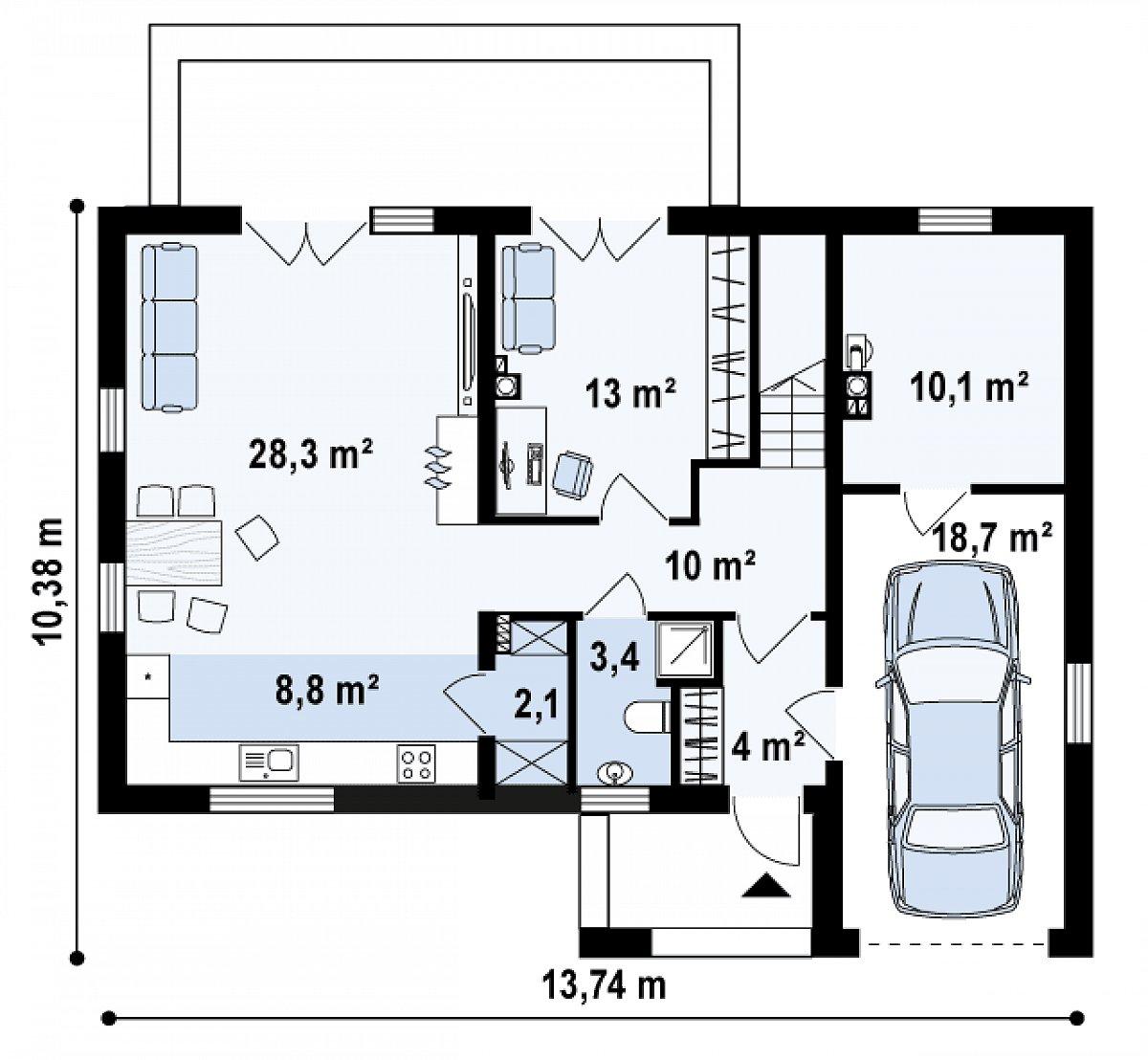 Первый этаж 69,5(98,3м²) дома Zx38 v1