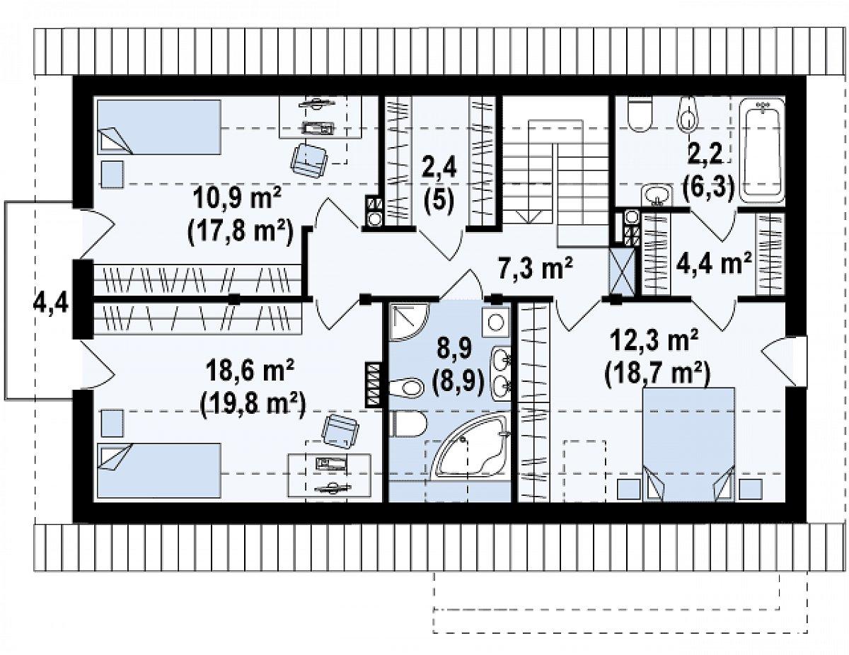 Второй этаж 68,3(88,2м²) дома Zx38 v1