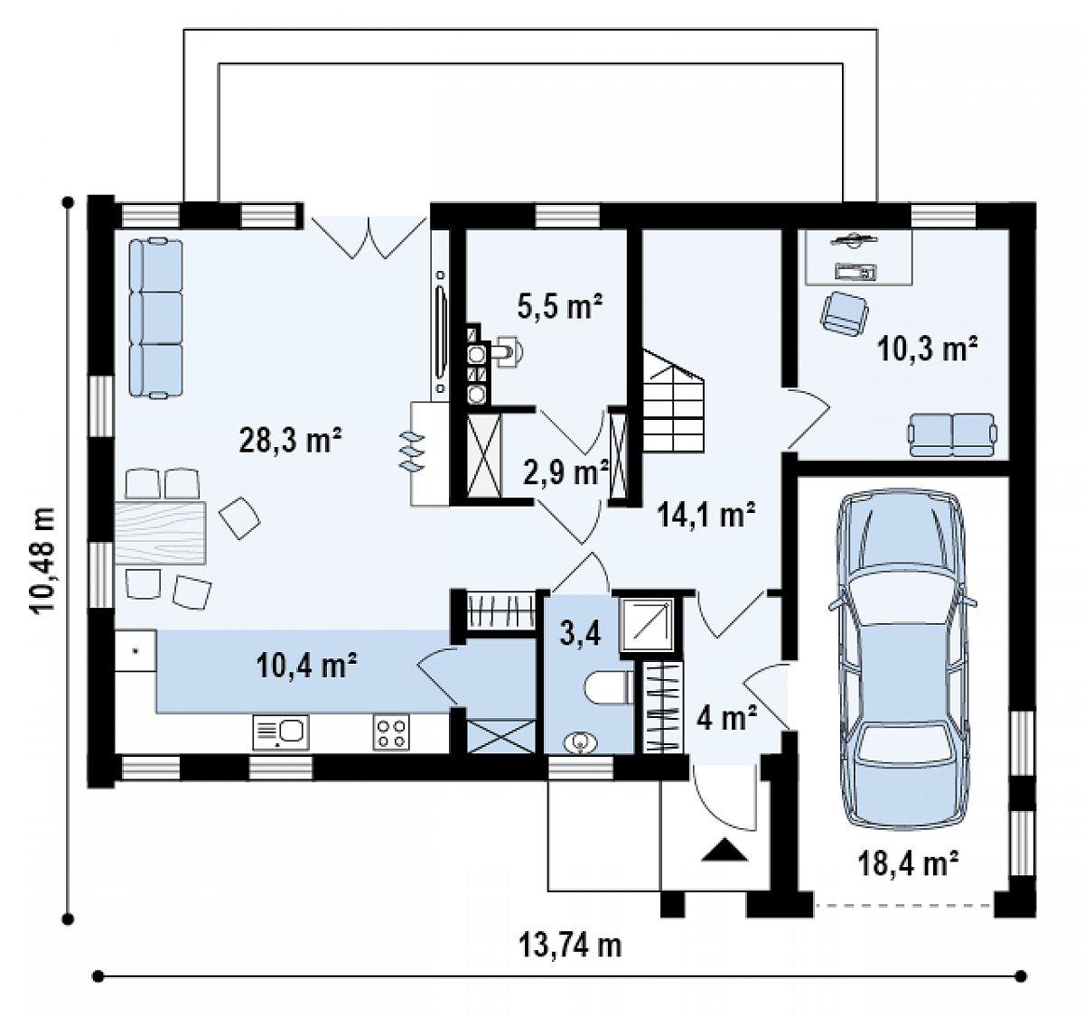 Первый этаж 78,9(97,2м²) дома Zx38