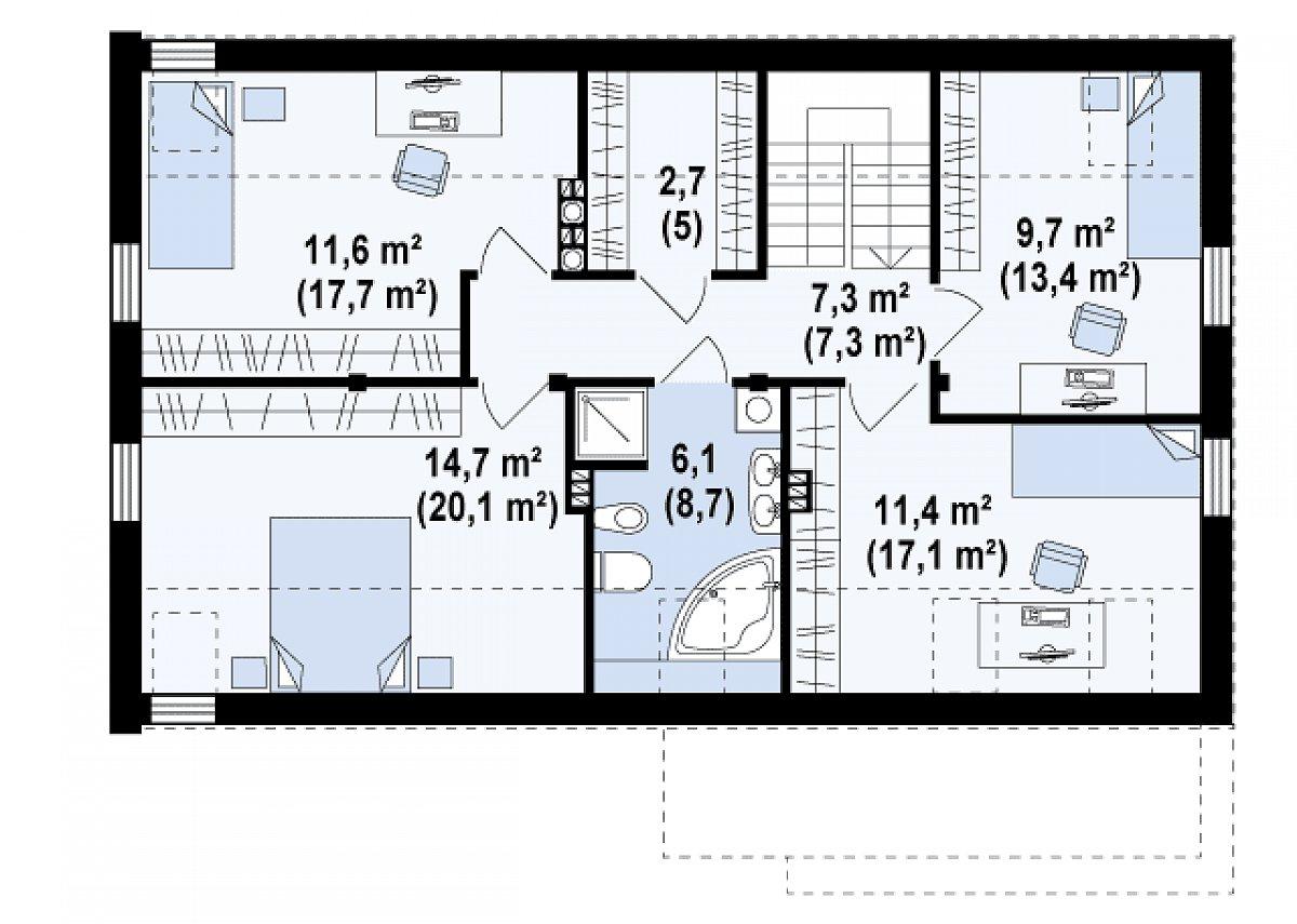 Второй этаж 62,6(89,4м²) дома Zx38