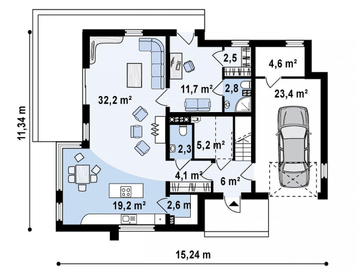 Первый этаж 88,6(116,6м²) дома Zx39