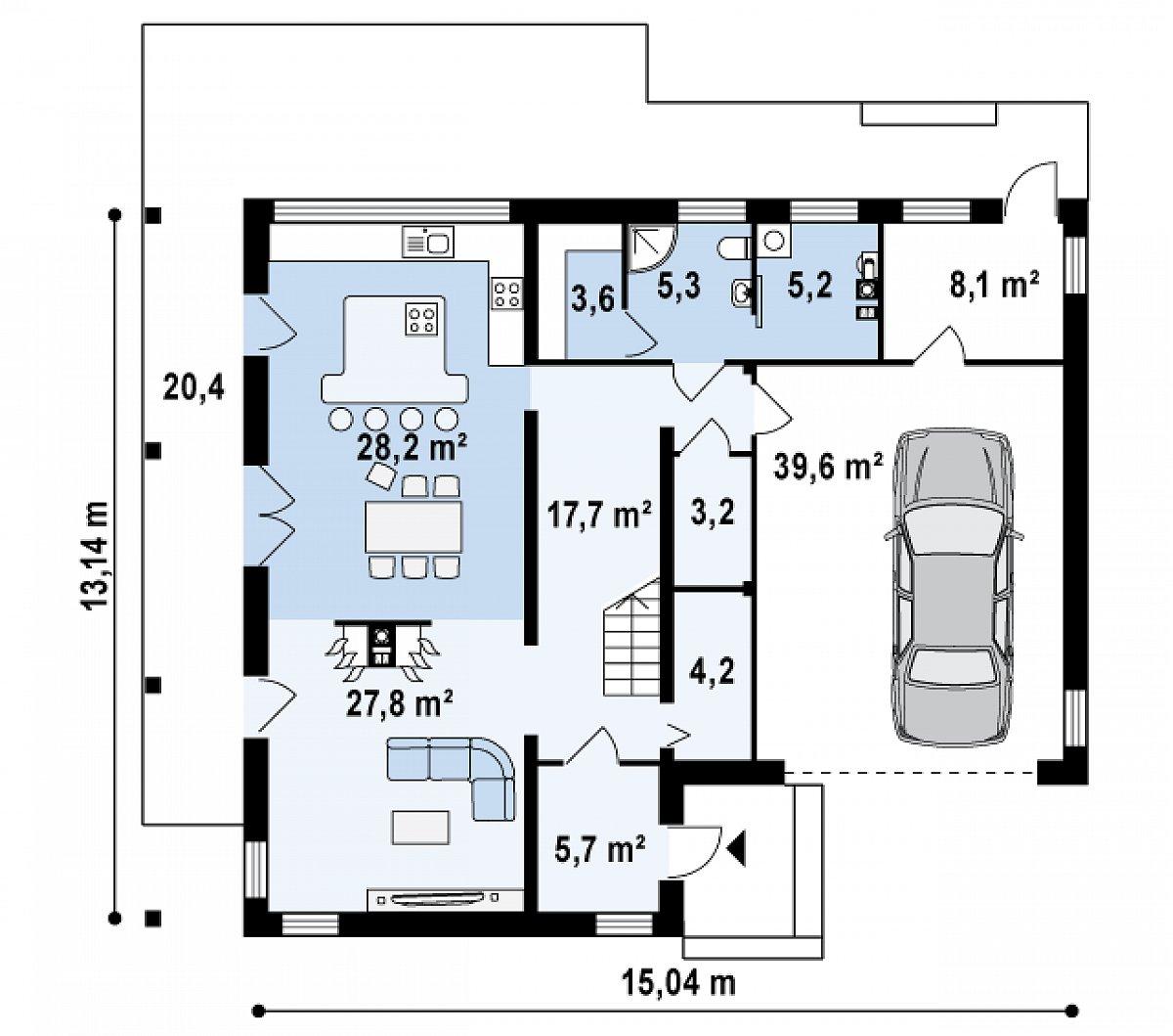 Первый этаж 101,0(148,7м²) дома Zx3