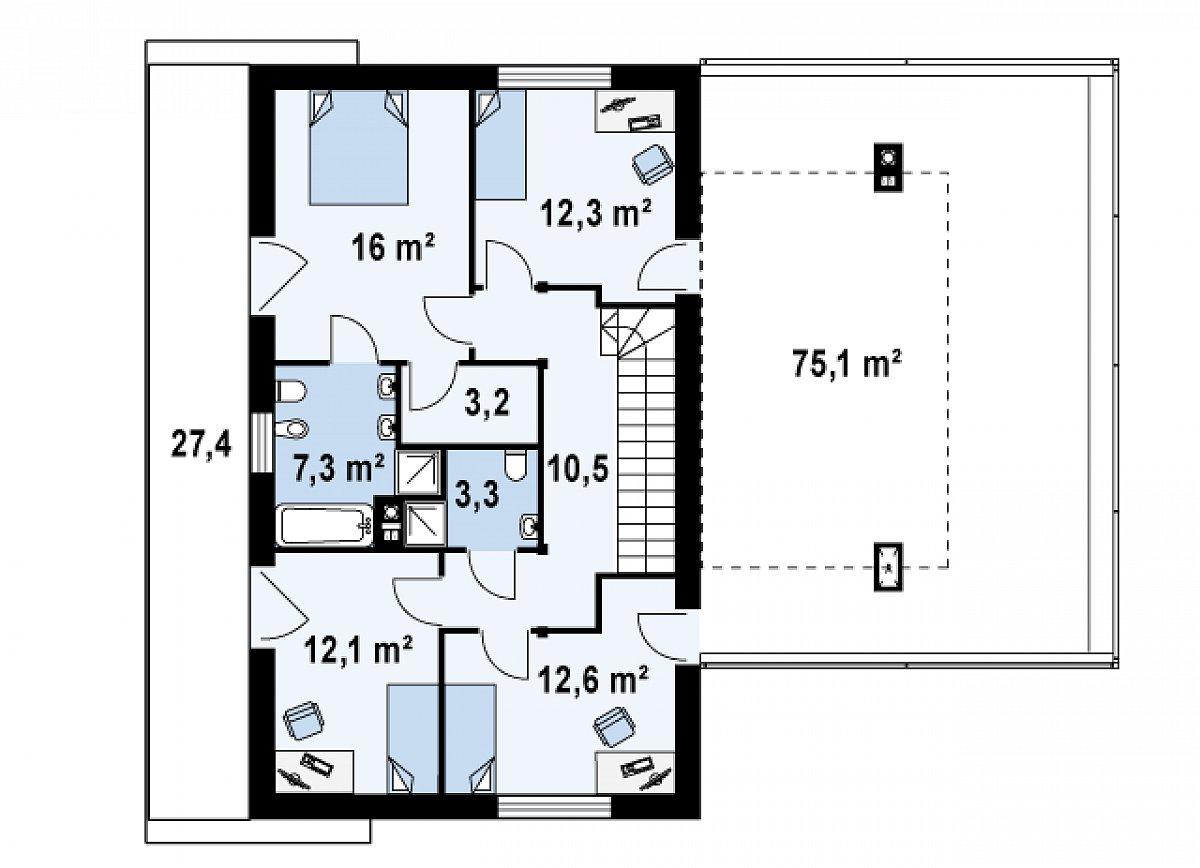 Второй этаж 77,3м² дома Zx3