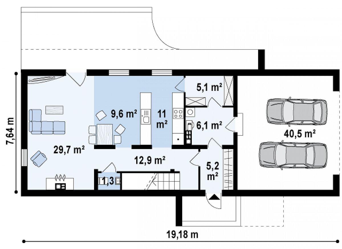 Первый этаж 81,0(121,5м²) дома Zx40