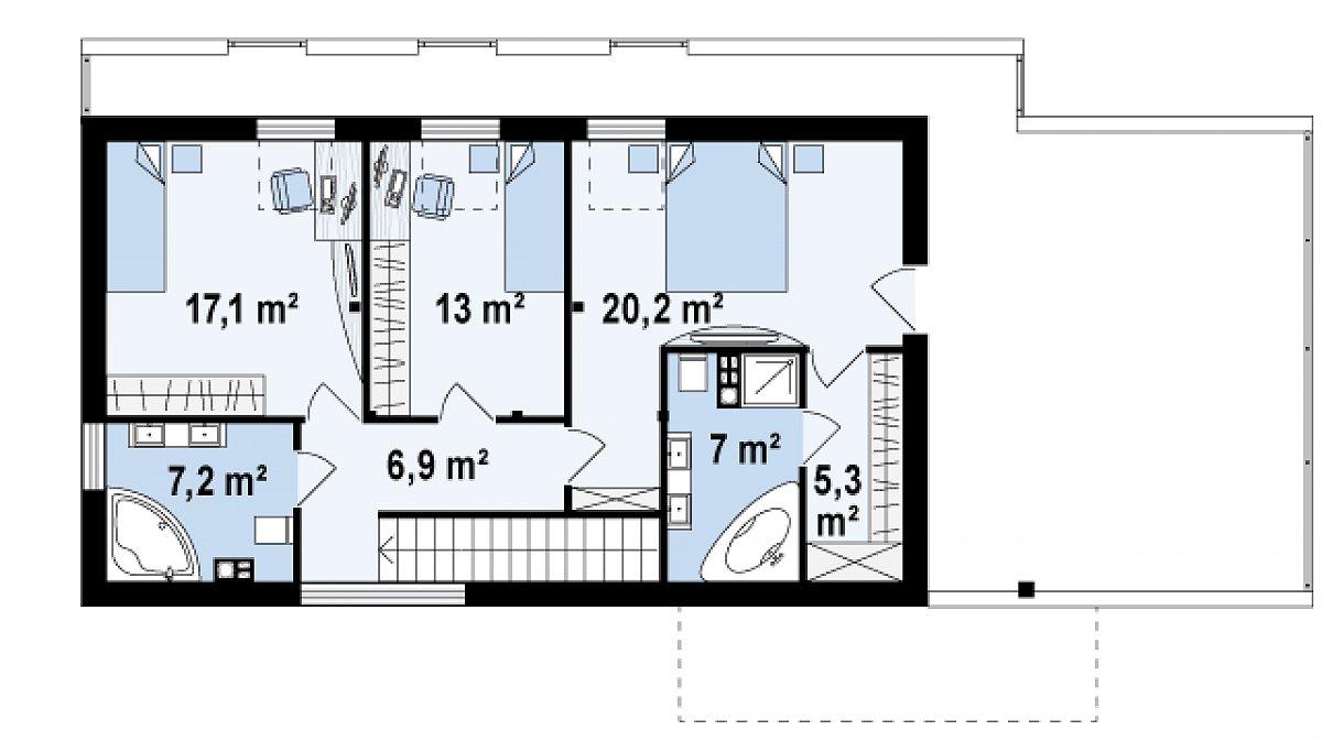 Второй этаж 73,3(76,9м²) дома Zx40