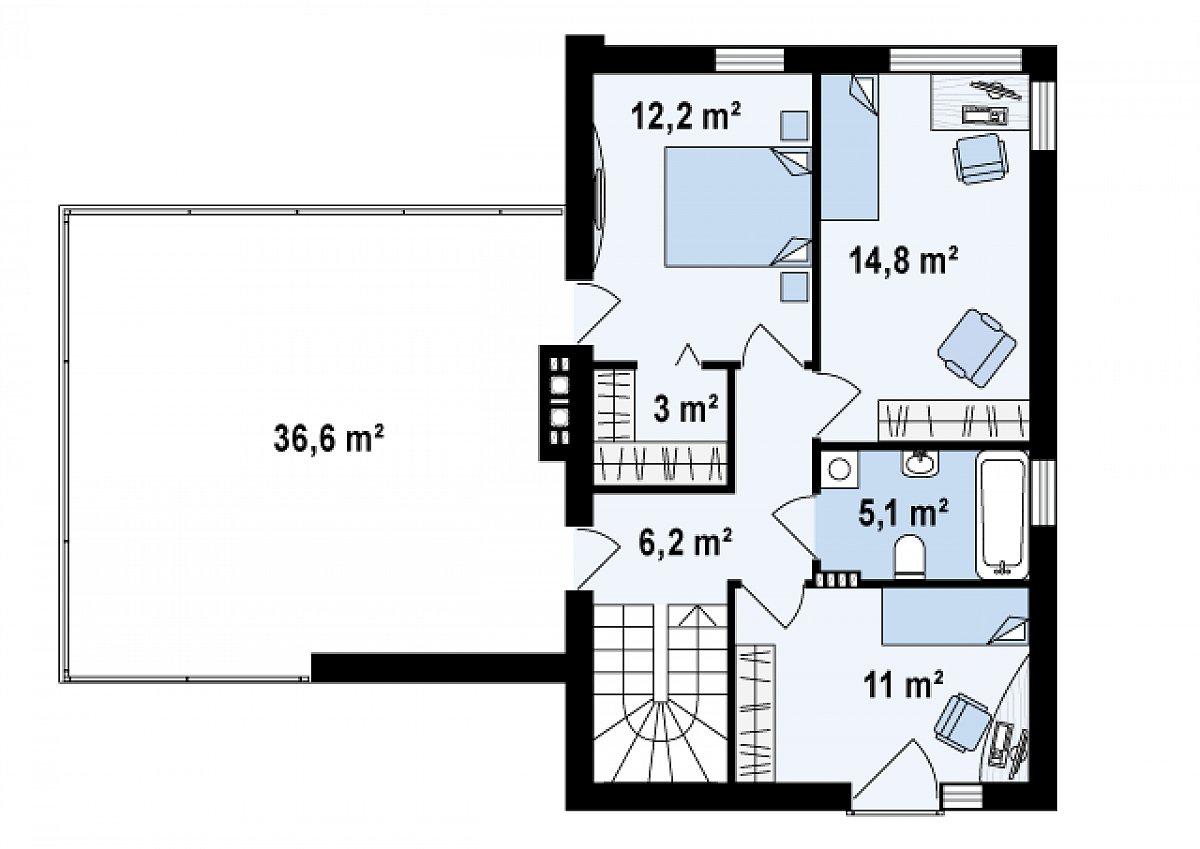 Второй этаж 52,4м² дома Zx41 v1