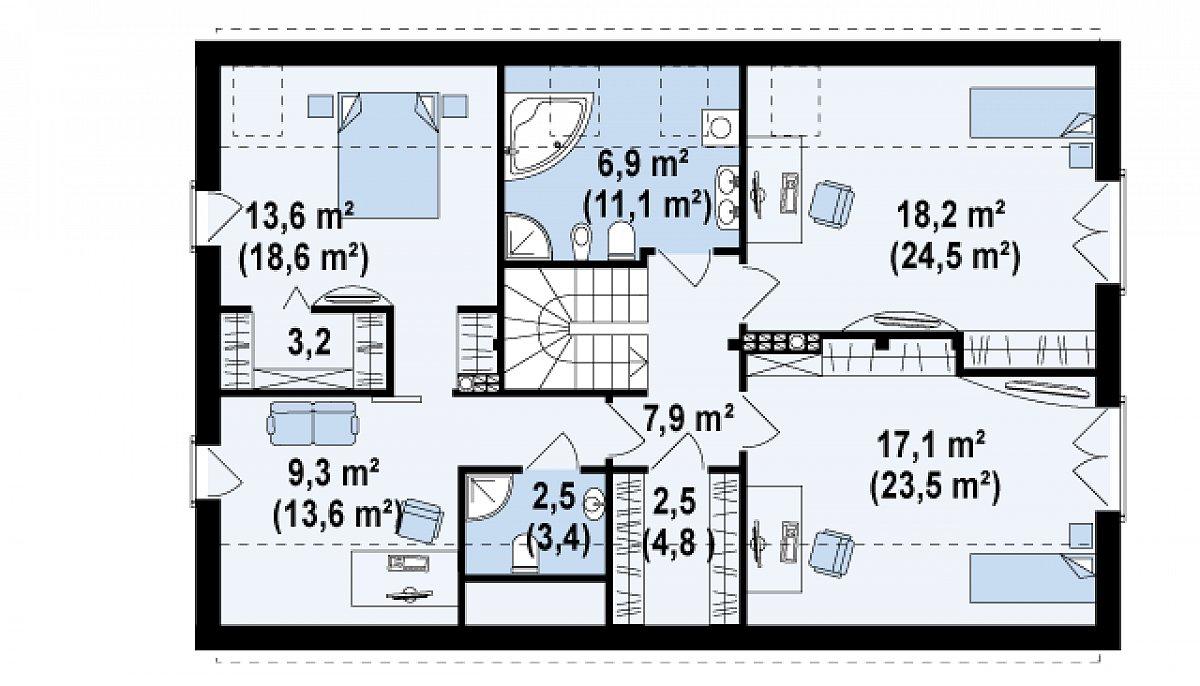 Второй этаж 81,2(110,5м²) дома Zx43