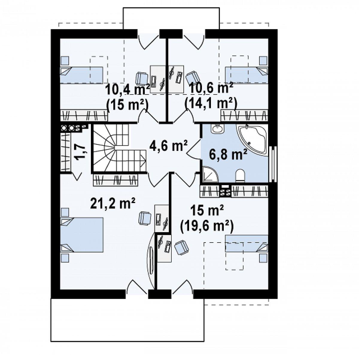 Второй этаж 70,3(83,1м²) дома Zx44