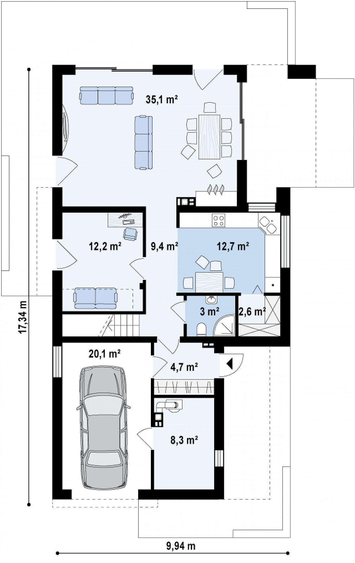 Первый этаж 79,9(108,3м²) дома Zx45