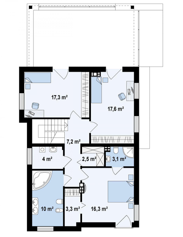 Второй этаж 81,3м² дома Zx45